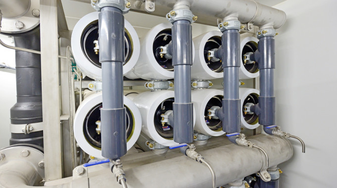 Reverse Osmosis Equipment Inside Of Plant, Close-up